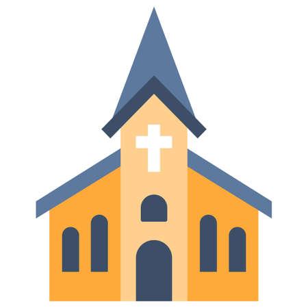 Una ilustración de vector de iglesia en diseño de color plano