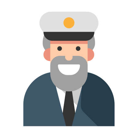 Captain with a smile vector illustration in flat color design