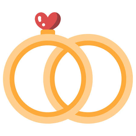 Rings with a heart vector illustration in flat color design