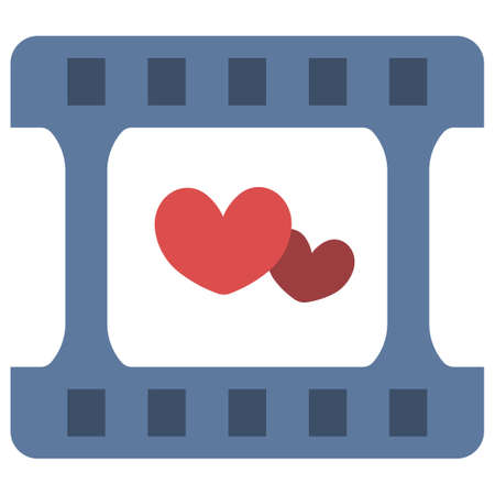 Film with a hearts vector illustration in flat color design