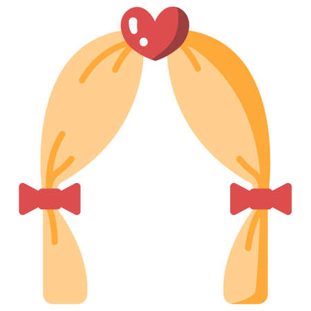 Wedding arch with a heart vector illustration in flat color design