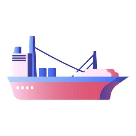 Cargo ship vector illustration in gradient design