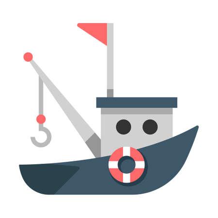 A boat vector illustration in flat color design
