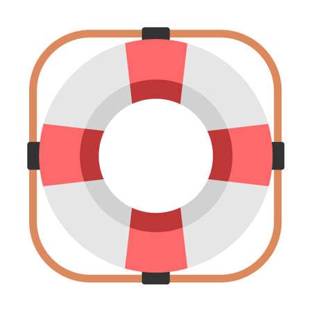 Life ring vector illustration in flat color design