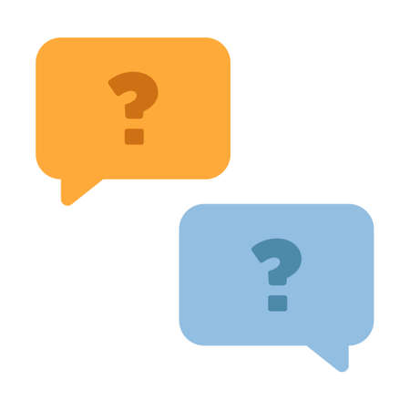 Two chat bubbles with a question marks vector illustration in flat color design Çizim