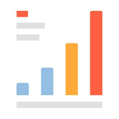 Bar graph vector illustration in flat color design