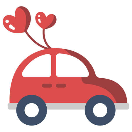 Car with a heart balloons vector illustration in flat color design
