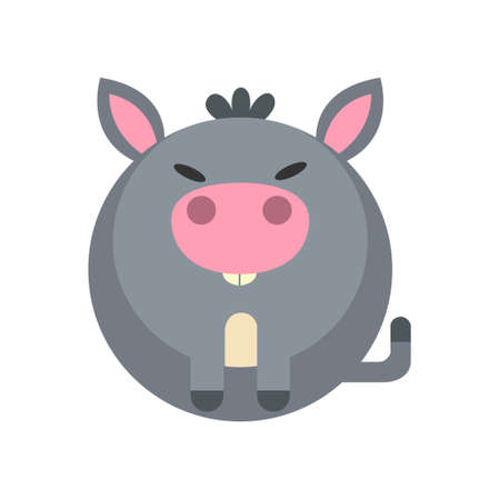 Puffy donkey vector illustration in flat color design