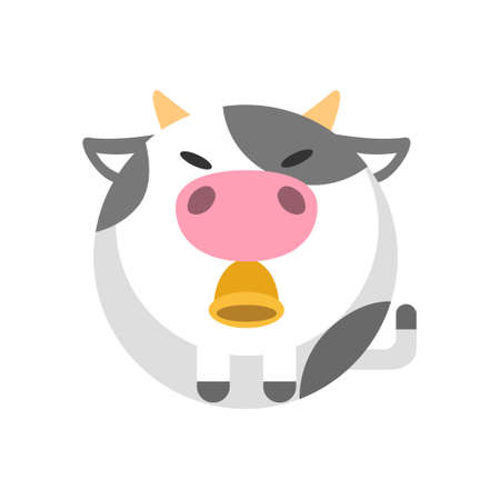 Puffy cow vector illustration in flat color design