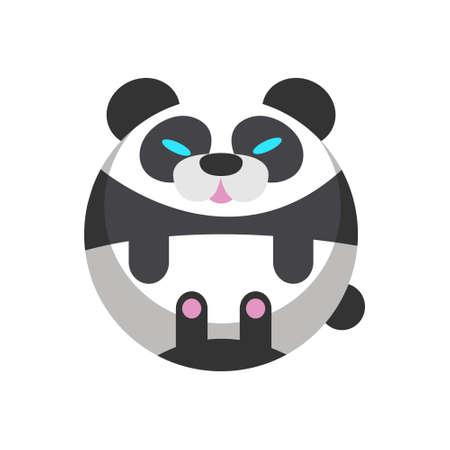 Puffy panda vector illustration in flat color design