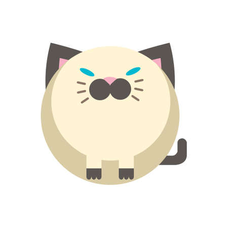 Puffy Cat vector illustration in flat color design Illusztráció
