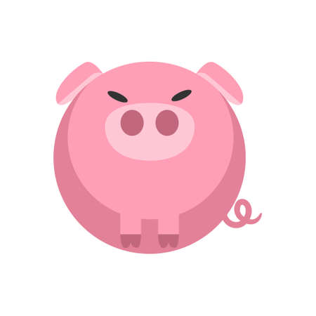 Ilustración de vector de cerdo hinchado en diseño de color plano Ilustración de vector