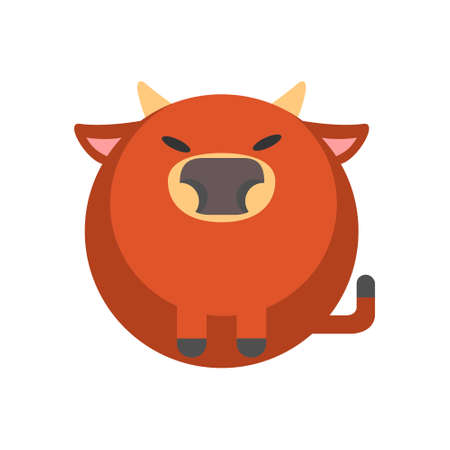 Puffy bull vector illustration in flat color design