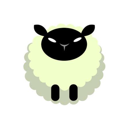 Puffy sheep vector illustration in flat color design Stock Illustratie