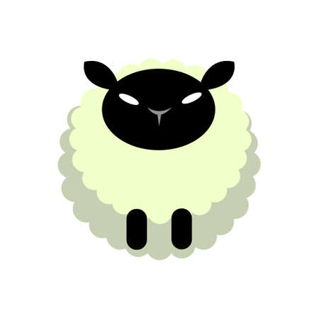 Puffy sheep vector illustration in flat color design Stock Illustratie
