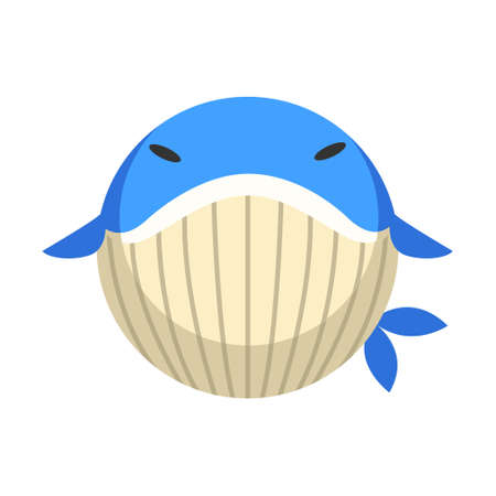 Puffy whale vector illustration in flat color design