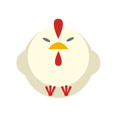 Puffy chickenvector illustration in flat color design