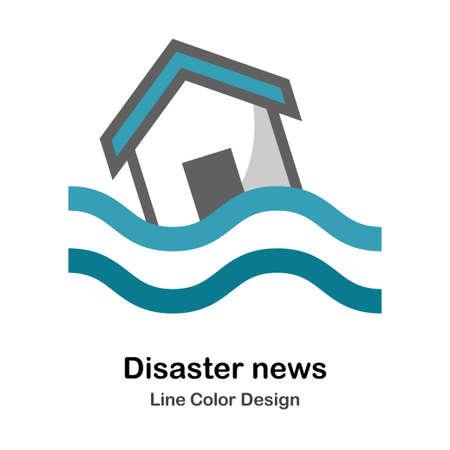 Flooded house icon in flat color design vector illustration Vektorgrafik