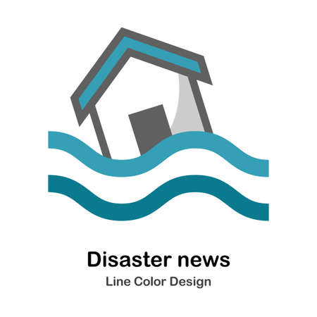 Flooded house icon in flat color design vector illustration