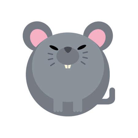 Puffy rat vector illustration in flat color design Çizim