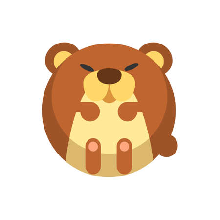 Puffy bear vector illustration in flat color design