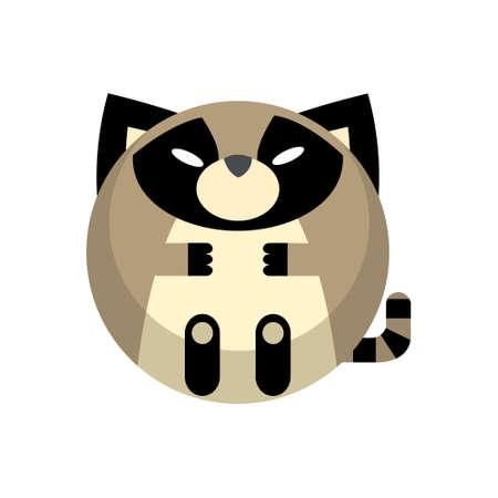 Puffy raccoon vector illustration in flat color design Çizim