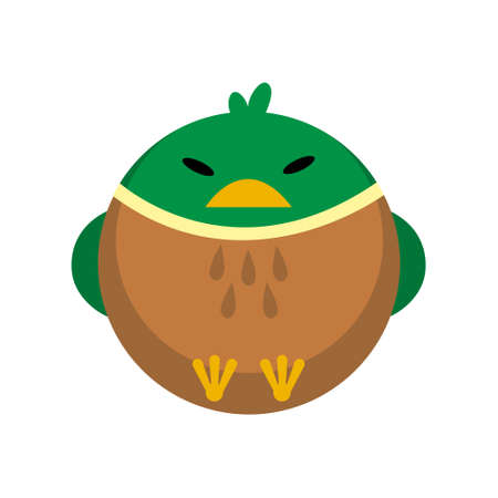 Puffy duck vector illustration in flat color design