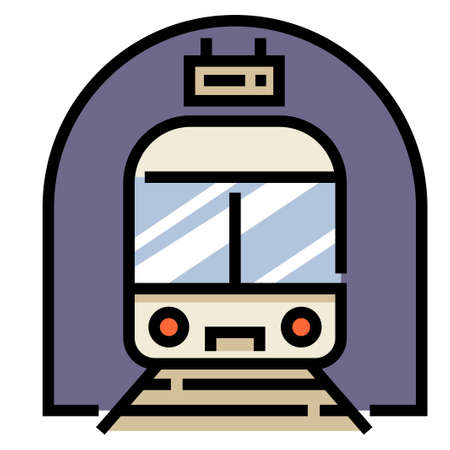 Train station with a train vector illustration in line color design