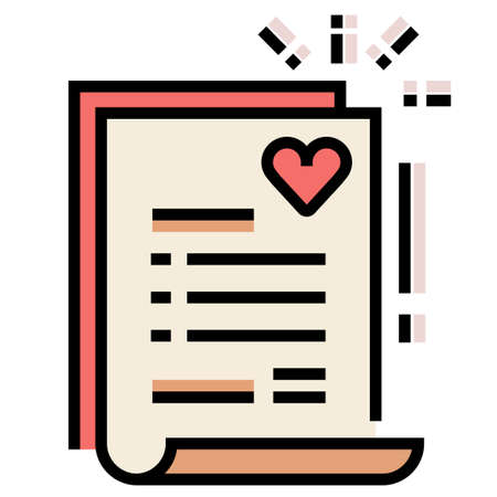 Paper with a heart symbol vector illustration in line color design