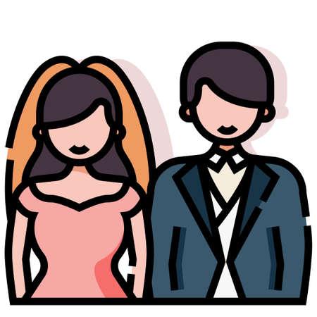Wedding couple vector illustration in line color design