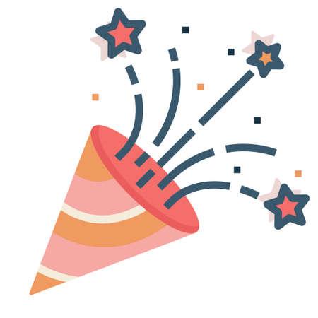 A party popper vector illustration in flat color design