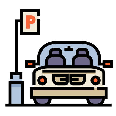 Car park and a car vector illustration in line color design