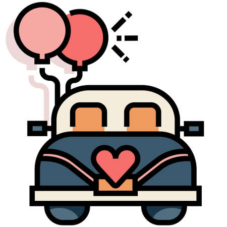 Wedding car with a balloons vector illustration in line color design Çizim