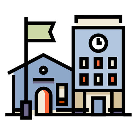 A school building vector illustration in line color design Vektorové ilustrace