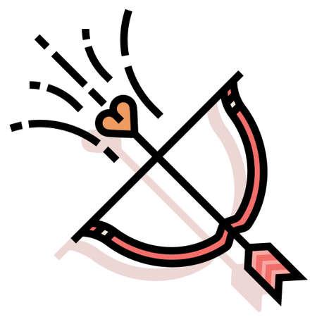 A cupid arrow vector illustration in line color design