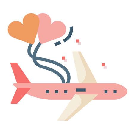 Avión con una ilustración de vector de globos de corazón en diseño de color plano