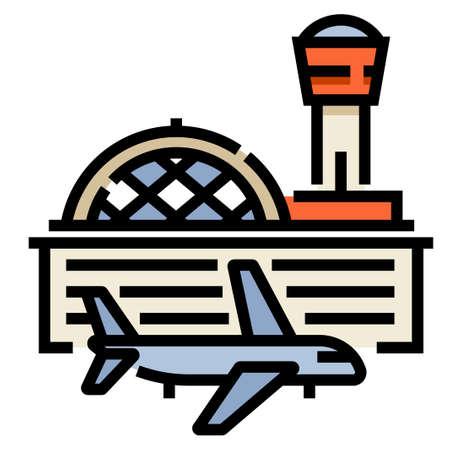 Aéroport et une illustration de vecteur d'avion dans la conception de couleur de ligne