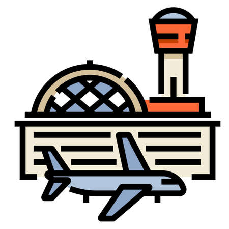Airport and a airplane vector illustration in line color design