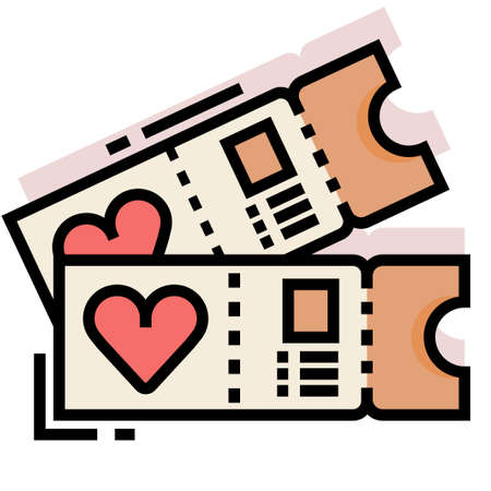 Tickets with a heart symbol vector illustration in line color design Çizim