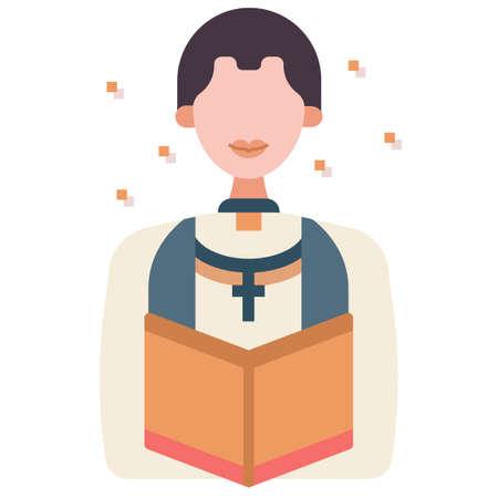 Man with a pastor uniform vector illustration in flat color design Vektoros illusztráció