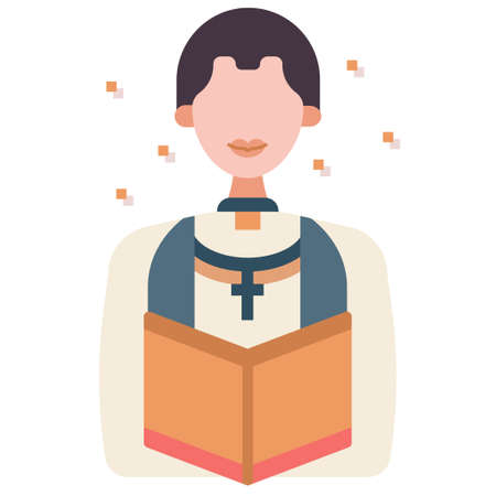 Man with a pastor uniform vector illustration in flat color design
