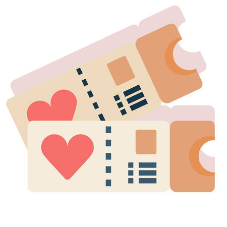 Tickets with a heart symbol vector illustration in flat color design