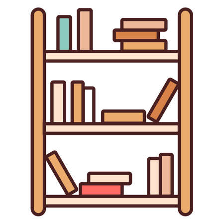 Bookshelf with a books vector illustration in line color design