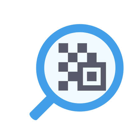 Magnify glass with Qr code icon in flat color design vector illustration 矢量图像