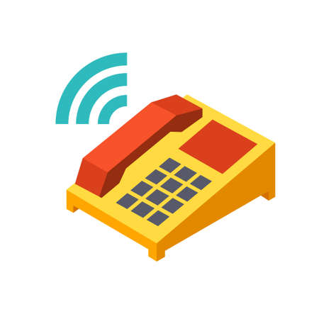 Ringing phone icon in flat color design vector illustration