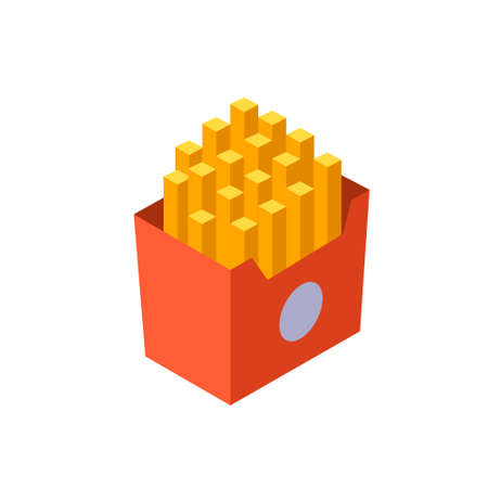 French Fries  icon in flat color design vector illustration Çizim