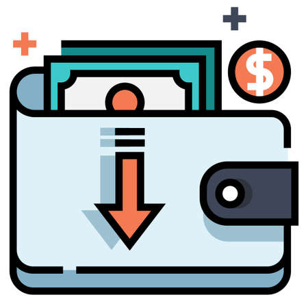 Wallet and money with down arrow vector illustration in line color design