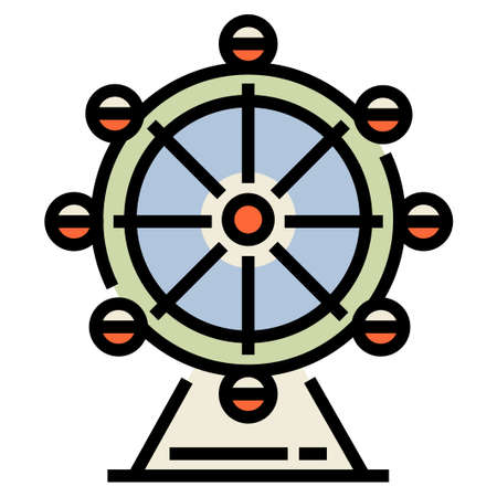 Ferris wheel vector illustration in line color design