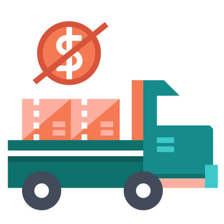 Truck and money with forbid icon vector illustration in flat color design