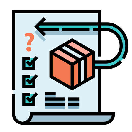 Box icon with arrow and tick mark on a paper vector illustration in line color design
